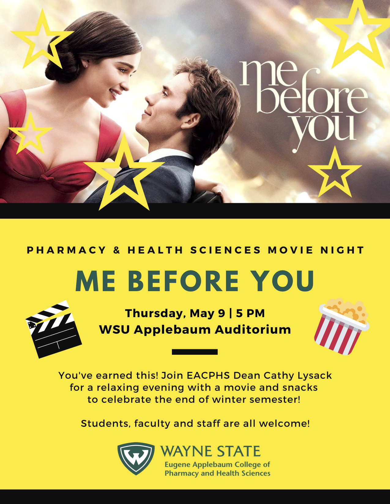Movie Night is May 9 at 5 p.m. in the WSU Applebaum Audieot