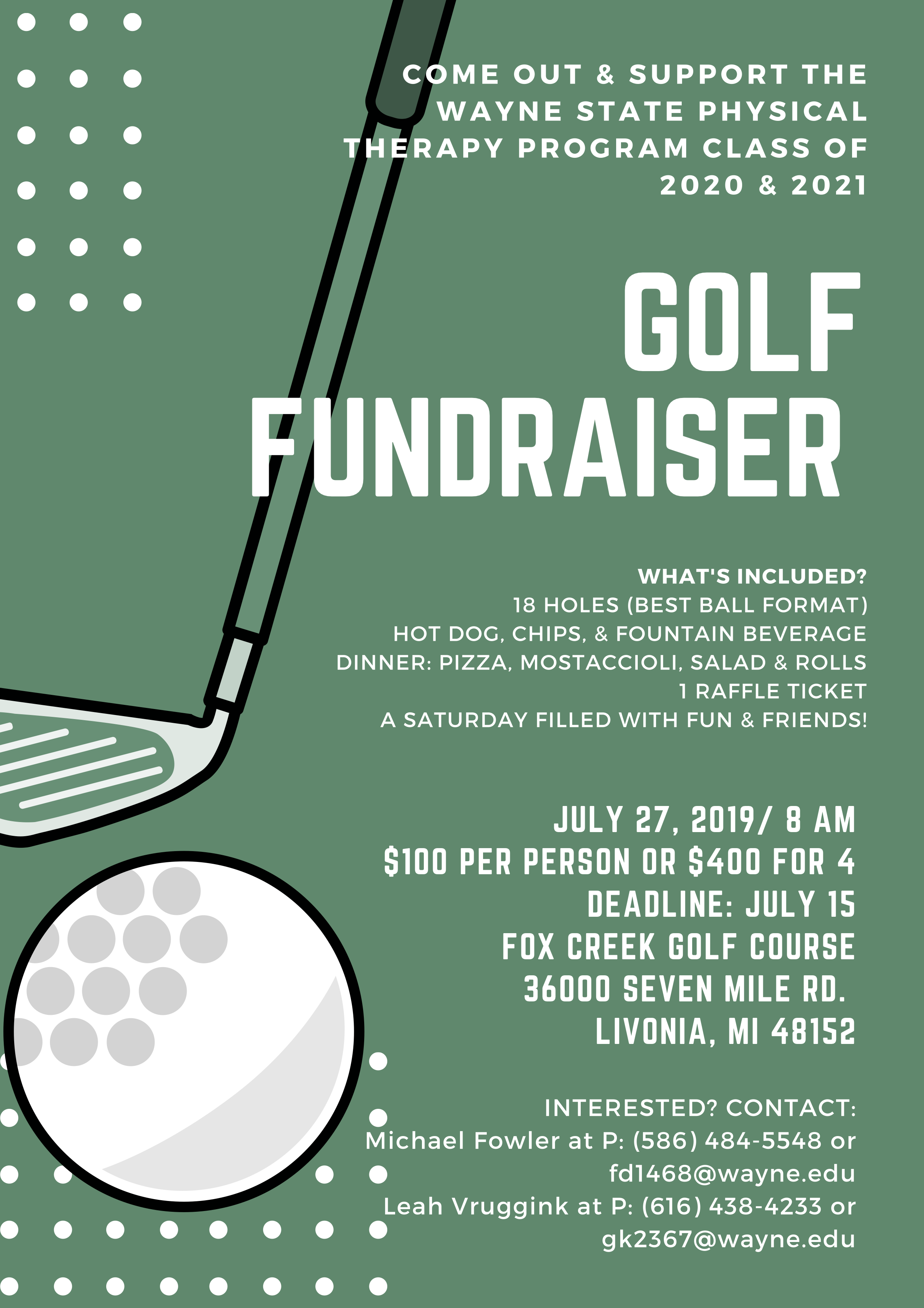 Wayne State PT Golf Fundraiser Flyer