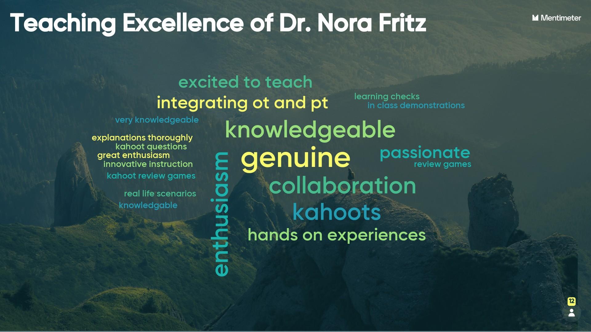 Mentimeter collage for Dr. Fritz
