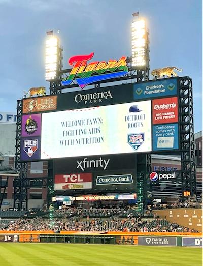 Detroit Tigers Pride Night scoreboard