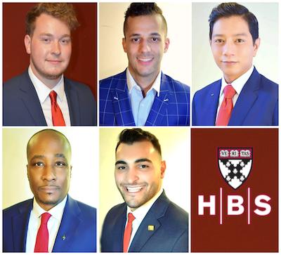 Harvard Business School program scholarship recipients Noah Trotter, Fadi Manuel, Joseph Paul Javier, Johnie L. Bailey and Hussein Safaoui