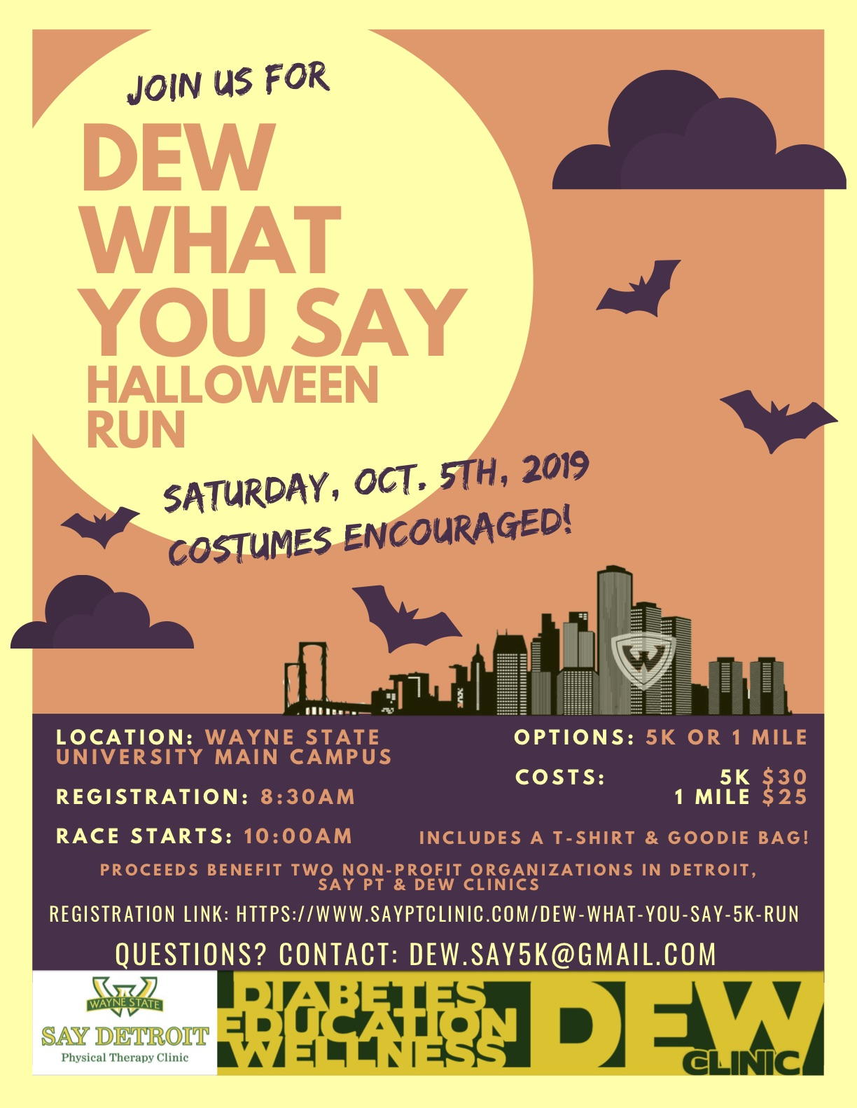DEW what you SAY 5k flier