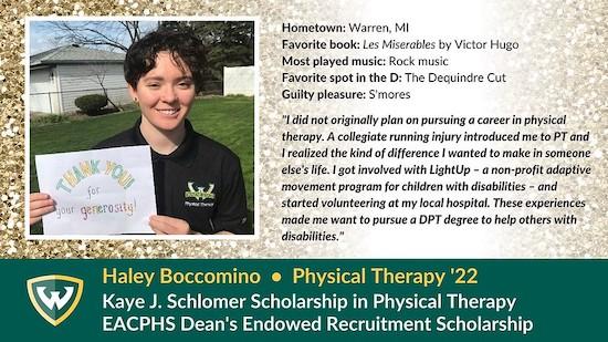 Haley Boccomino scholarship winner